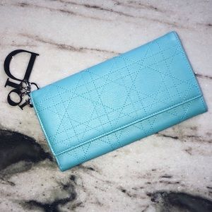 """Dior Long Flap Cannage  """"Lady Dior"""" Clutch Wallet"""
